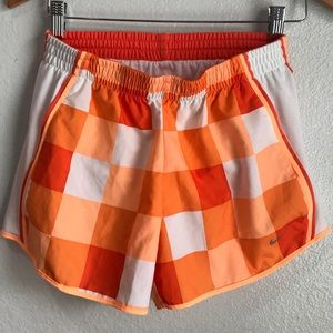 Nike Dri-Fit Pacer Running Shorts Orange Checkered